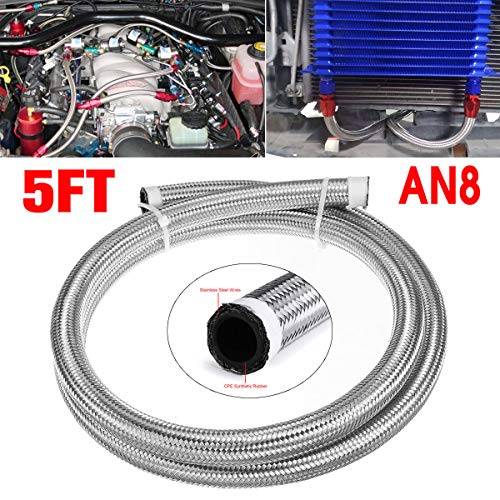 NICOLIE 5FT AN4 AN6 AN8 AN10 Fuel Hose Oil Gas Line Pipe Stainless Steel Braided Silver - #8