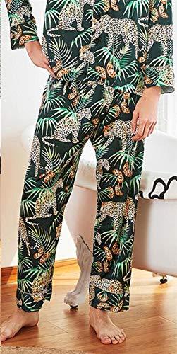 ASADVE Bata Casual de Verano para Hombre, Kimono, Bata de baño, Pijama de rayón Estampado, Ropa de hogar de Manga Larga, Pijama-Pantalones 3_SG