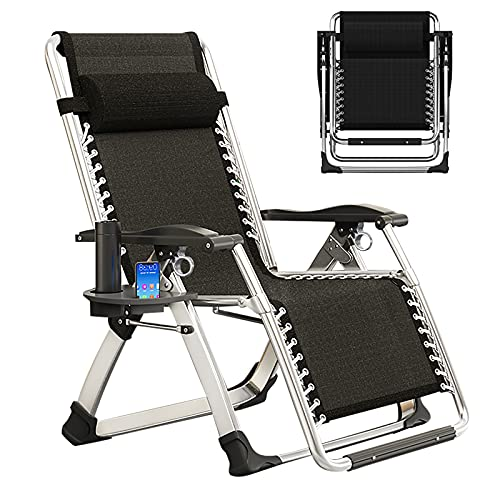 NAIZEA Lounge Chair Patio Zero Gravity Chair Folding Adjustable Reclining Patio Chairs with Cup Holder, Ergonomic Patio Recliner Chairs for Kids and Adult for Indoor and Outdoor (Black)