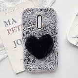 YHY Linda Funda Teléfono con Forma Corazón Felpa para ZTE Axon 7 Mini Funda Teléfono Romántica Creativa Moda Gris Oscuro