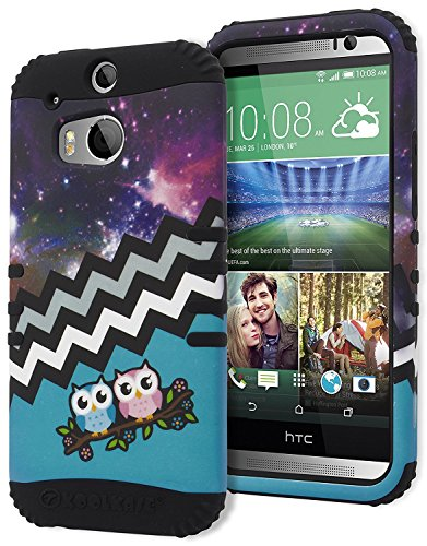 One M8 Case, Bastex Heavy Duty Hybrid Protective Case - Black Soft Silicone Cover with Teal Owls in Space Chevron Pattern Design Hard Case for HTC One M8