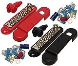 (Pair - Red & Black) 12 Terminal Distribution Block -BUSBARS- With Ring Terminals...