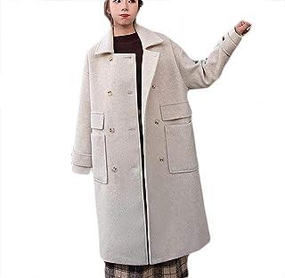 Solid color woolen coat women Long section autumn and winter wear loose college wind woolen jacket Long sleeve double breasted warm windbreaker (Color : Oatmeal, Size : M)