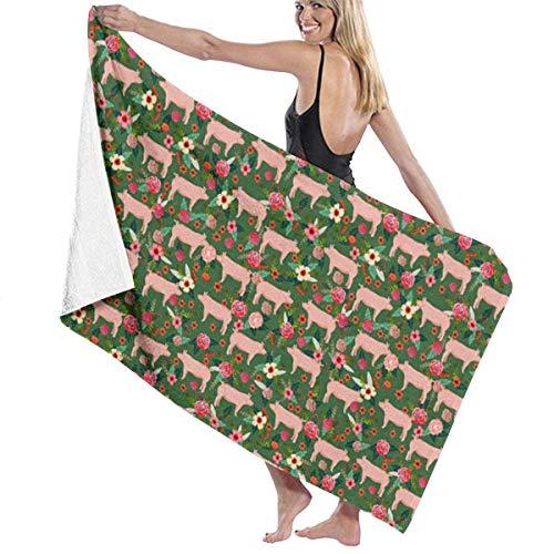 Ewtretr Toalla de Playa Bath Towels Pigs and Florals Microfiber Bath Towel Soft High Absorption Quick Drying Bathroom Travel Sports and More130cmx80cm