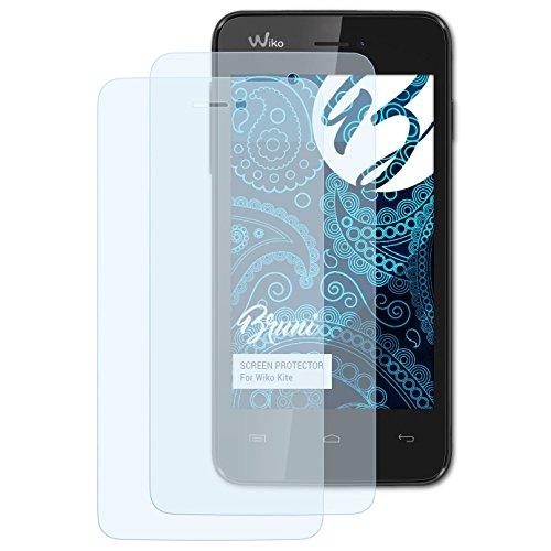 Bruni Schutzfolie kompatibel mit Wiko Kite Folie, glasklare Bildschirmschutzfolie (2X)