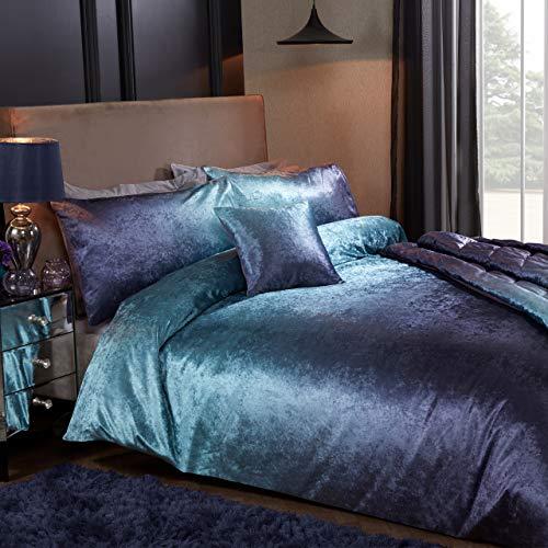 Sleepdown Ombre Velvet Purple Luxury Soft Duvet Cover Quilt Bedding Set With Pillowcases - Double (200cm x 200cm)