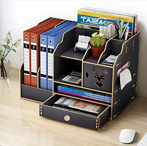 Queta Organizador de Escritorio de Madera, Cajas de almacenamiento de Escritorio Madera, Organizador escritorio de papelería para papelería, A4, bolígrafos, libros, cuadernos y ficheros (Negro)