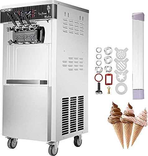 VEVOR 2200W Commercial Soft Ice Cream Machine 3 Flavors 5.3 to 7.4Gallons per Hour Auto Clean LED...