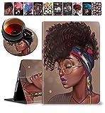 iPad Mini 5/Mini 4 Case, iPad Mini 1/2/3 Case and Coasters Set Shock Proof Protective Case with Auto Sleep/Wake for iPad Mini 5th/4th Gen 7.9 Inch, African American Girl