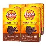 Metamucil Fiber Thins, Psyllium Husk Fiber Supplement, Digestive Health Support and Satisfy Hunger, Chocolate Flavored, 12 Servings (Pack of 4)