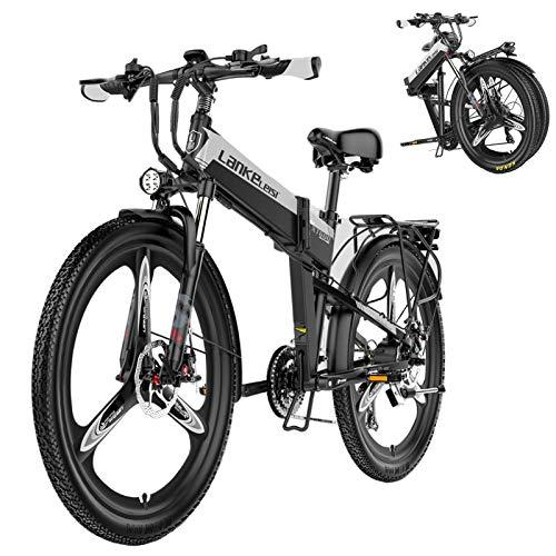 26inch 48v Mountain Electric bike,400w Powerful Motor,21 Speed gear,Removable Lithium Battery,full Suspension Ebike for all Terrains,Men and Women Folding Aluminum alloy Mountain bike,Black,10.4ah 60k