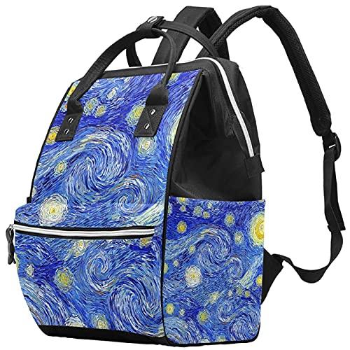 Yuelai Borsa per pannolini Zaino per laptop Zaino da viaggio per donna, luna splendente cielo stellato astratto modello di pittura impressionista