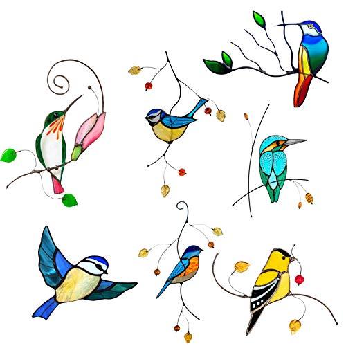 Yoouo 7pcs Window-Sticker Birds Fensterdeko, Ornithologie, Fenstersticker, Fensterfolie, Vogel, Blaumeise, Vogelschaar,22 X 14 cm