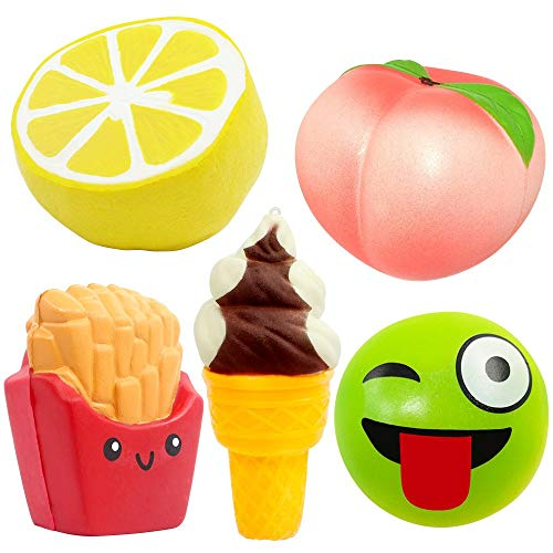 UMIKU 5pcs Squishy Jumbo Squishies Peach Lemon Ice Cream Bun French Fries Squishies Slow Rising Squishy Kawaii Scented Charms Hand Wrist Squishy Toys