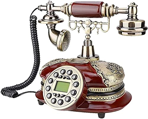CJDM Teléfono Vintage con botón pulsador, teléfono de Escritorio Retro, teléfono Fijo de Estilo Retro con botón pulsador para hoteles en casa