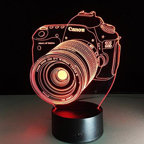 Entertainment camera nachtlampje voor kinderen 3D illusie lamp 7 kleuren wijzigen met afstandsbediening sfeerlicht, vakantie en verjaardagscadeau voor jongens meisjes