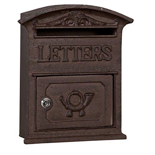 Clayre & Eef 6Y1267 brievenbus, wandbrievenbus, post, thektekst, letters van gietijzer, bruin, ca. 27 x 9 x 31 cm.