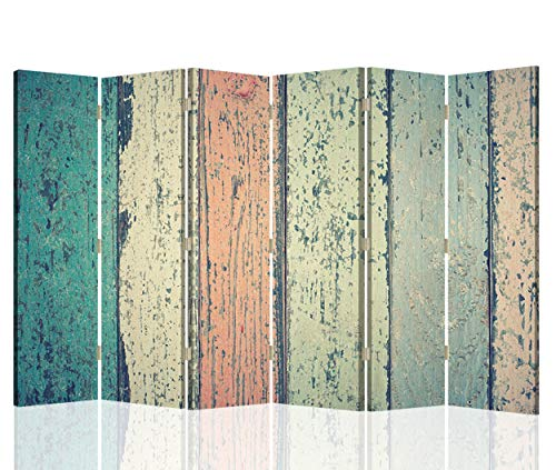 Feeby Foto Biombo Abstracción 6 Paneles Unilateral Vintage Retro Multi 216x175 cm