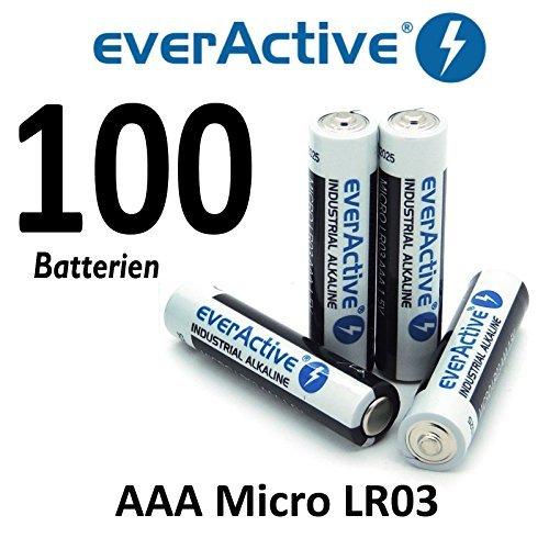 100 X everActive Micro AAA LR03 MN2400 MX2400 Alkalinebatterien 1200 mAh