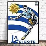 Sanguolun Cuadro Lienzo Mural Jugador de fútbol Uruguayo n. ° 9 Luis Alberto Suarez decoración de Regalo para el hogar Pintura Cartel de Lienzo HD 60x90cm