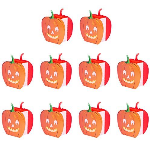 OSALADI 10 Stücke Papier Lichttüten Deko Kürbis Lichtertüten Kerzenhalter Candle Bags Jack O Lantern Kerzen Tüten für Halloween Tischdeko Herbstdeko Thanksgiving Herbst Dekoration