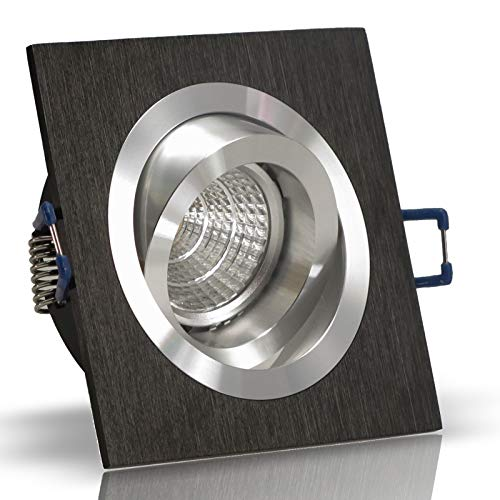 10x Decken Einbauleuchte NOBLE Schwarz 230V Hochvolt GU10 quadratisch eckig schwenkbar OHNE Leuchtmittel Aluminium Einbaustrahler Einbauspot NOBLE S1