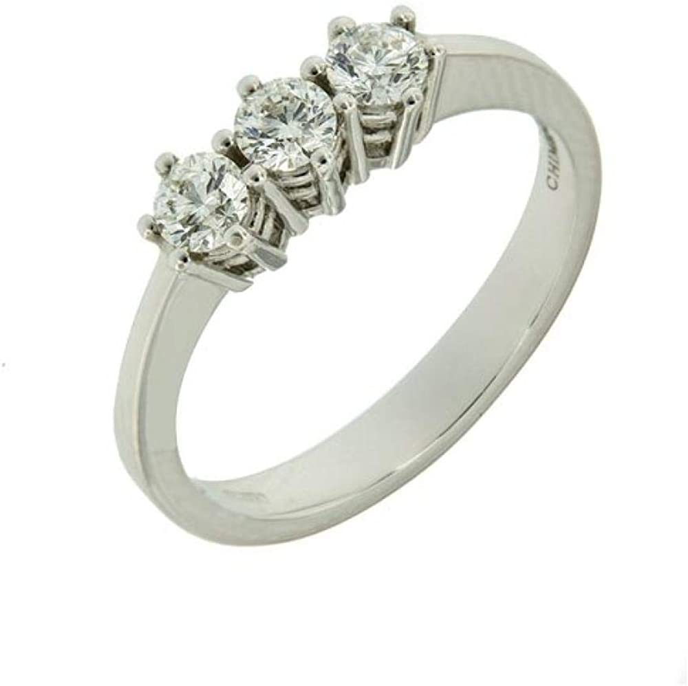 Chimento,anello trilogy per donna,in oro bianco 18 kt(5,1 gr),con 3 diamanti 1,05 ct 1A09850B85140