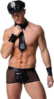 Geagodelia 4 Pcs Men's Sexy Underwear Set Cosplay Gloves + Bow Tie + Patchwork Underpants + Hollow Out Vest