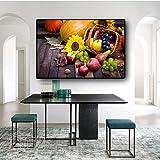 SHKJ Lienzo Moderno de Frutas y Verduras Frescas, póster, impresión, escandinavia, Arte, Cuadro de Pared, Cocina, Restaurante, decoración del hogar, 70x90cm / 27.5'x35.4 Sin Marco