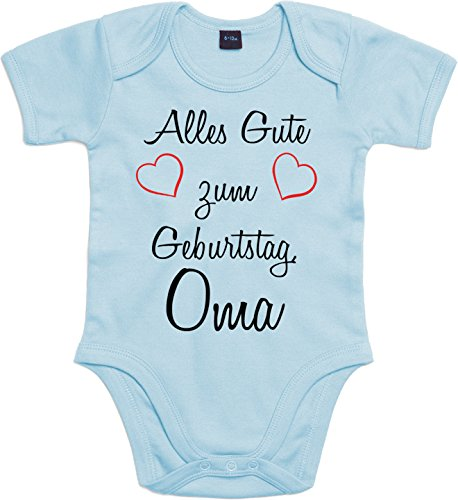 Mister Merchandise Baby Body Alles gute zum Geburtstag, Oma Strampler liebevoll bedruckt Glückwunsch Hellblau, 0-3