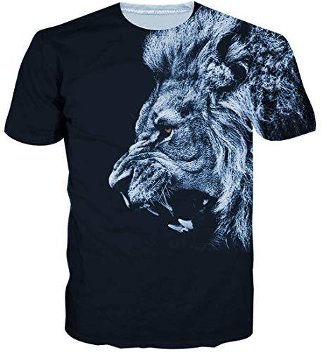 Goodstoworld Herren Lion T-Shirt 3D Grafik Druck Gedruckte Sommer Bunte Kurzarm Tshirt Tee T Shirt Schwarz L