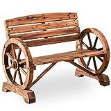 PatioFestival Outdoor Bench Wooden Patio Porch Bench Wagon Wheel Design Rustic Bench for Garden,Porch,Yard(45' Lx21 Wx32 H)