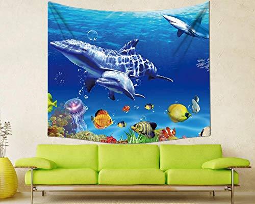 MSHAQT Tapiz Tiburón Submarino Delfín Película Colgante de Pared Sala de Estar Toalla de Playa Colcha Hogar Interior Regalo de Decoración 150 Cm * 250 Cm
