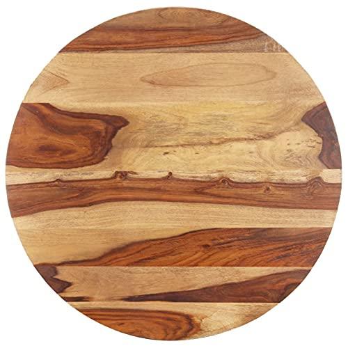 Foecy Tischplatte Massivholzplatte Schreibtischplatte Holztischplatte Arbeitsplatte Tischplatte-Holz Massiv Massivholz Palisander Rund 15-16 mm 40 cm für Schreibtisch, Esstisch