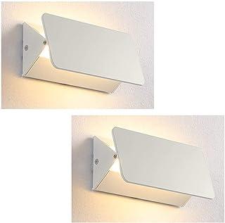 XIAJIA-2 Pcs 5W Aplique Pared Interior,Lámpara de lectura led,Dormitorio Lámpara de pared Interior,Moderna Apliques,Longitud 17.5 cm,AC85-265V,Blanco Cálido (cambiando la dirección de la luz)