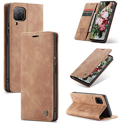 FMPC Handyhülle für Huawei P40 Lite Premium Lederhülle PU Flip Magnet Hülle Wallet Klapphülle Silikon Bumper Schutzhülle für Huawei P40 Lite Handytasche - Braun