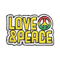 LOVE&PEACE ラブ ピース メッセージ ワッペン 黄色