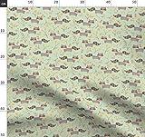 Minzgrün, Waschbären Stoffe - Individuell Bedruckt von
