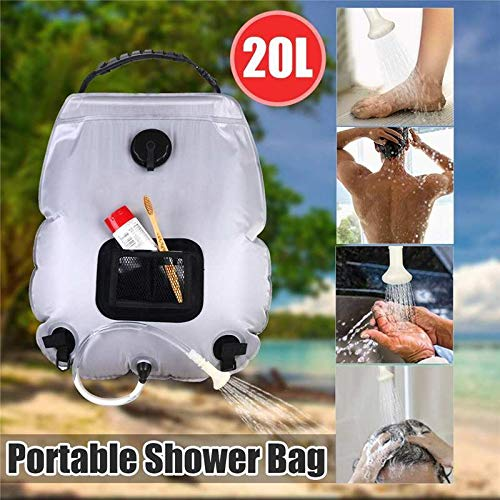 HUANGRONG Outdoor Shower Bag Portable 20L Solar Shower Heating Pipe Bag Water Heater Outdoor Camping Shower Bag Hose with Temperature Display for Travel