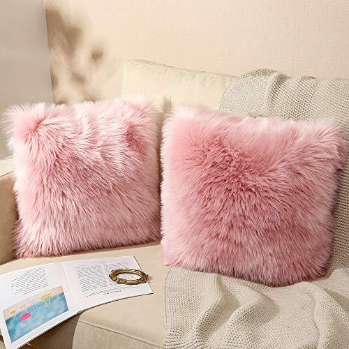 Quiknoy, set di 2 federe decorative, in pelliccia di agnello, pelo lungo, per soggiorno, divano, camera da letto, auto, tenda ecc.