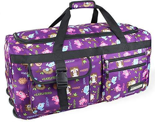 normani Leichte XXL Reisetasche Rollenreisetasche Trolley Sporttasche mit Rollen Farbe Eule Größe 80 Liter