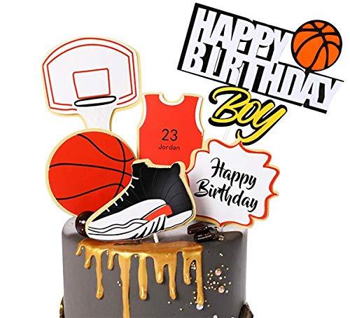 Zapatillas de baloncesto Cake Topper Feliz Cumpleaños Nueva Edad Borth Cake Decoración Aniversario (Rojo)