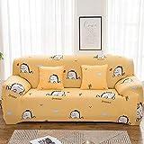 Fundas para Sofa 1 Plazas Dibujos Animados Amarillo Funda Elastica Sofa Chaise Longue Fundas Sofa Rinconera con Respaldo Ajustable Antideslizante Protector de Muebles (90cm-140cm)