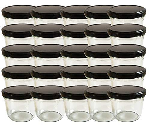 hocz Juego de tarros de cristal | Cantidad 25 unidades | Capacidad 230 ml | Incluye tapa de rosca color negro 25 etiquetas NZ para escribir | Allrounder para tarros de mermelada