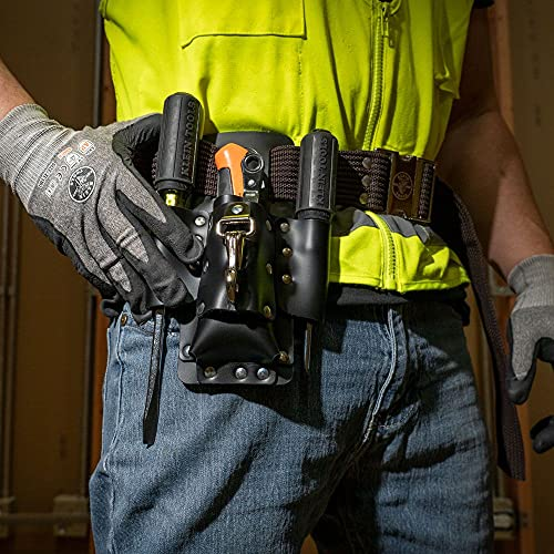 Klein Tools 5119 Tool Pouch, Multi Tool Holder with 4 Pockets and Knife Holder is Great for Electrician Gifts