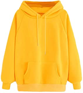 Women Hoodie Sweatshirt Fankle Sale Long Sleeve Drawstring Solid Tops Blouse Coat with Pockets