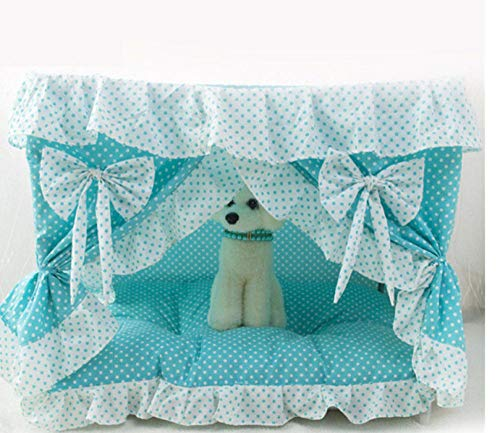 Kat huis zacht en schattig prinses boog bed grot hondenhuis schattig kennel nest hond kattenbed met gordijnen