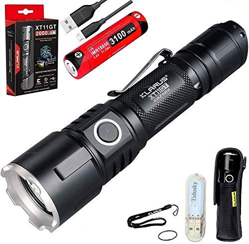 Klarus XT11GT Taktische Taschenlampe Kaltes Weiß LED Maximale Ausgabe 2000 Lumen Maximale Strahlabstand 316 Meter USB Wiederaufladbare Taschenlampe mit 18650 Akku/ Batterie und USB Lampe