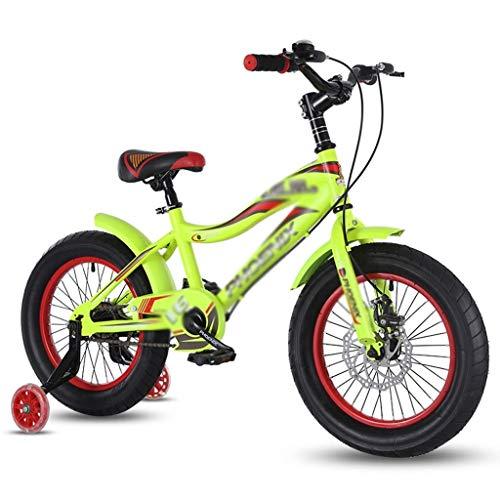 ZMDZA Bicicletas de los niños, los niños de 16 Pulgadas de la Bicicleta con Ruedas de Entrenamiento, Bicicleta de montaña del Freno de Disco 6-13 años Carro de bebé (Color: Verde)