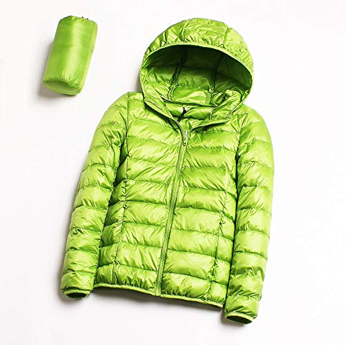 ADXD Leichte Daunenjacke Damen Kapuzenjacke Daunenjacke Kurz Damen Winter Xl Jacke, grün, L